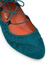 Балетки Santoni WAVV56643 100% кожа Изумрудный Италия изображение 5