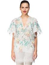 Платье Les Copains 0R5060 100% шёлк Бело-зеленый Италия изображение 1