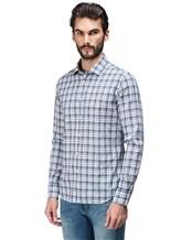 Рубашка XACUS 719ML 96% хлопок, 4% полиамид Бело-синий Италия изображение 2