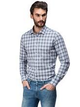 Рубашка XACUS 719ML 96% хлопок, 4% полиамид Бело-синий Италия изображение 0