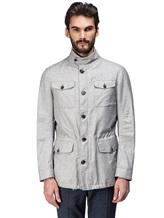 Куртка Mandelli A3T544 52% лён, 41% шерсть, 7% шёлк Светло-серый Италия изображение 1