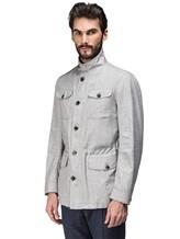 Куртка Mandelli A3T544 52% лён, 41% шерсть, 7% шёлк Светло-серый Италия изображение 2