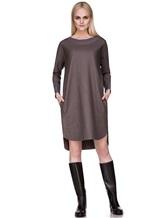 Платье EREDA 17WEDDR011 94% шерсть, 3% полиамид, 3% эластан Серо-коричневый Италия изображение 0
