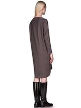 Платье EREDA 17WEDDR011 94% шерсть, 3% полиамид, 3% эластан Серо-коричневый Италия изображение 4