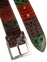 Ремень Stefano Corsini SP4VC 100% кожа Зелено-коричневый Италия изображение 1