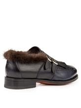 Ботинки Santoni WUCD56896 100% кожа Черно-синий Италия изображение 3