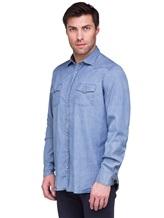 Рубашка Lardini EEALE 80% хлопок, 18% нейлон, 2% эластан Темно-голубой Италия изображение 1