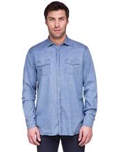 Рубашка Lardini EEALE 80% хлопок, 18% нейлон, 2% эластан Темно-голубой Италия изображение 2
