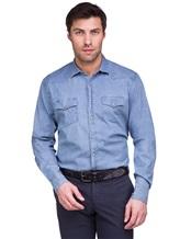 Рубашка Lardini EEALE 80% хлопок, 18% нейлон, 2% эластан Темно-голубой Италия изображение 0