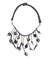 Колье Peserico S35147C0 44% стекло, 42% кожа, 8% металл, 6% другие волокна Сине-коричневый Италия изображение 0