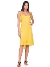 Платье Andrea Ya'aqov 18WSAN43 51% шёлк, 49% хлопок Горчичный Италия изображение 0