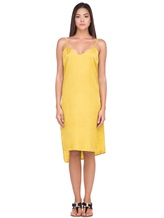 Платье Andrea Ya'aqov 18WSAN43 51% шёлк, 49% хлопок Горчичный Италия изображение 1