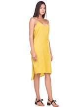 Платье Andrea Ya'aqov 18WSAN43 51% шёлк, 49% хлопок Горчичный Италия изображение 2