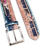 Ремень Stefano Corsini IPPICA 100% кожа Бежево-голубой Италия изображение 1