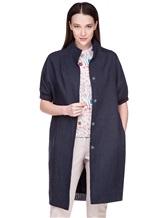 Пальто EREDA 18SEDC0700 100% лён Серо-синий Италия изображение 0