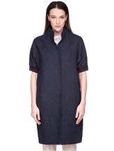 Пальто EREDA 18SEDC0700 100% лён Серо-синий Италия изображение 2