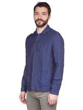 Рубашка XACUS 703ML 100% лён Синий Италия изображение 3