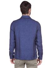 Рубашка XACUS 703ML 100% лён Синий Италия изображение 4
