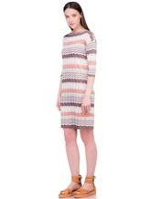 Платье Re Vera 18001004 100% шёлк Бело-коричневый Италия изображение 2