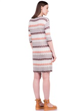 Платье Re Vera 18001004 100% шёлк Бело-коричневый Италия изображение 3