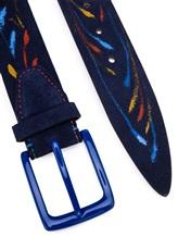 Ремень Stefano Corsini SPLASH 100% кожа Темно-синий Италия изображение 1