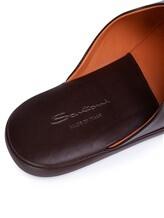 Тапки Santoni PMXXA1644 100% кожа теленка Темно-коричневый Италия изображение 4