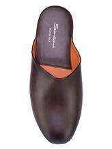 Тапки Santoni PMXXA1644 100% кожа теленка Темно-коричневый Италия изображение 5