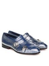 Туфли Santoni WUSM57622 100% кожа теленка Сине-бежевый Италия изображение 0