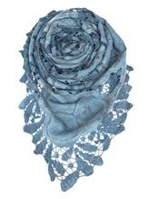 Палантин Faliero Sarti 1010 85% шерсть, 10% хлопок, 5% шёлк Серо-синий Италия изображение 0
