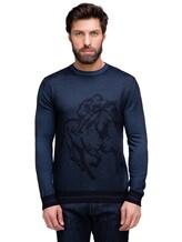 Джемпер Pashmere WU89066 60% шерсть, 30% шёлк, 10% кашемир Серо-синий Италия изображение 1