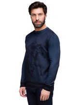 Джемпер Pashmere WU89066 60% шерсть, 30% шёлк, 10% кашемир Серо-синий Италия изображение 2