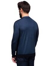 Джемпер Pashmere WU89066 60% шерсть, 30% шёлк, 10% кашемир Серо-синий Италия изображение 3