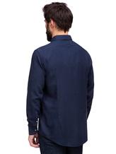 Рубашка Massimo Alba GENOVA 60% модал, 40% хлопок Темно-синий Италия изображение 3