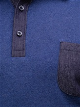 Поло FIORONI M17308C1 55% шерсть, 30% шёлк, 15% кашемир Синий Италия изображение 4